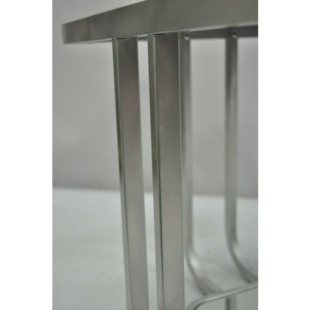20th Century Art Deco Style 2 Tiered Metal & Glass Side End Table For Sale In Philadelphia - Image 6 of 12