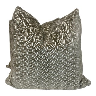 "Chevron Cut Velvet in Taupe 22"" Pillows - a Pair For Sale"