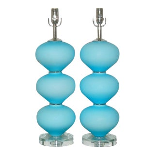Vintage Murano Satin Glass Lamps Blue For Sale