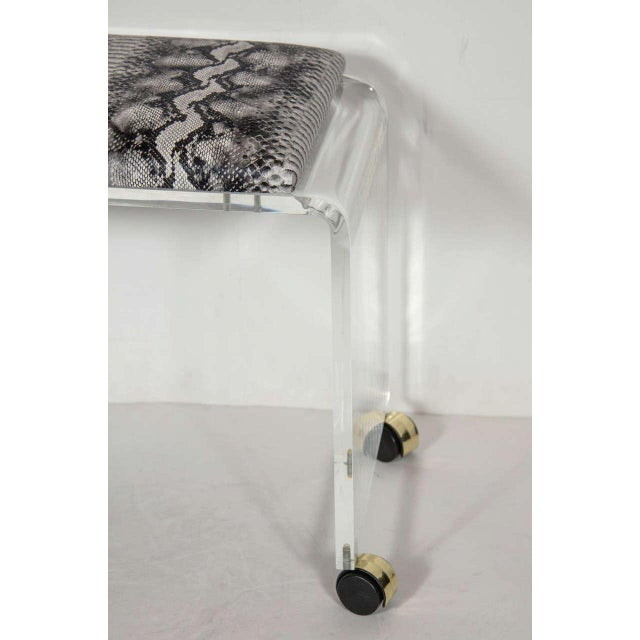 Mid-Century Modernist Waterfall Form Lucite Stool with Faux Python Upholstery For Sale - Image 4 of 6