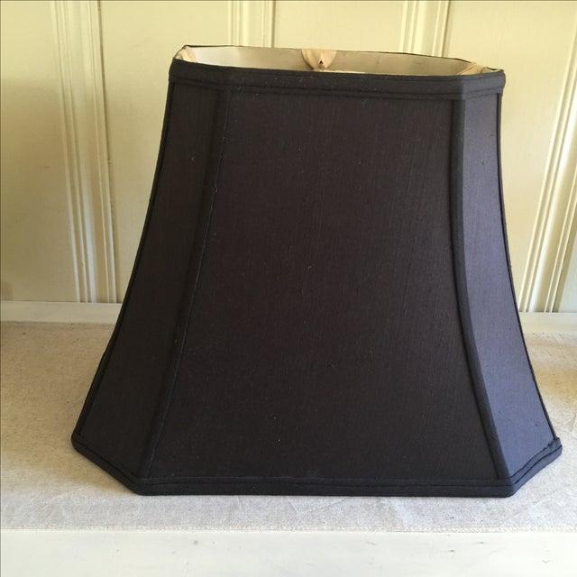 Mid-Century Black Silk Lamp Shades - A Pair - Image 8 of 11