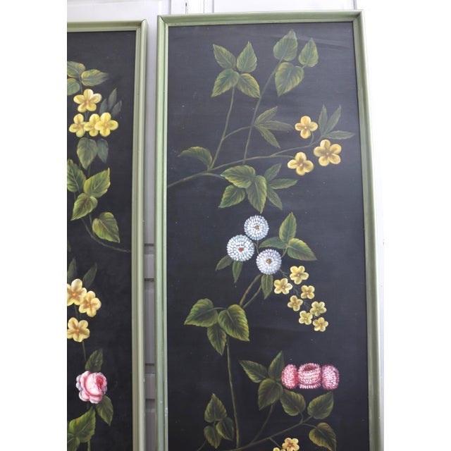 Hand Painted Screen Panels Oil on Canvas Floral Still Life - Set of 3 For Sale In Charlotte - Image 6 of 8