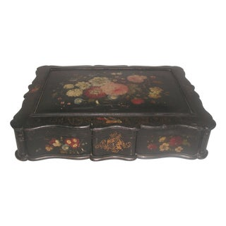 French Hand-Painted Vanity Jewelry Box 19th C For Sale