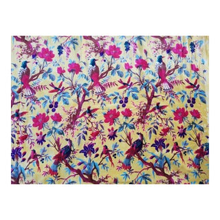 Chinoiserie Yellow Cotton Velvet Fabric - 10 Yards For Sale