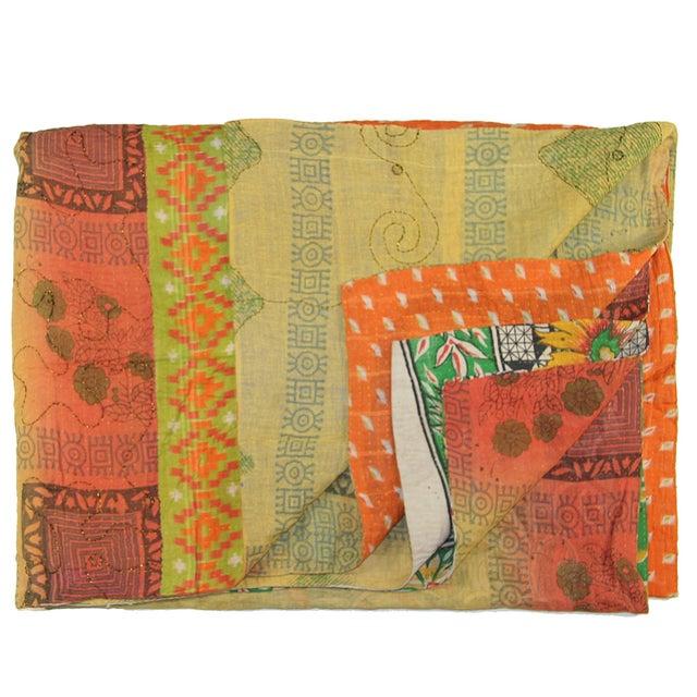 Vintage Green & Orange Kantha Quilt - Image 1 of 3