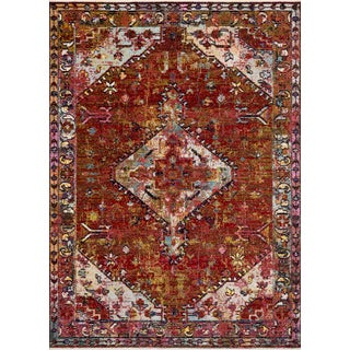 """Loloi Rugs Silvia Rug, Red / Multi - 3'11""""x5'7"""" For Sale"""