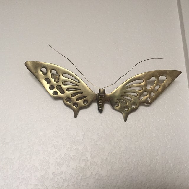 Brass Wall Hanging Butterflies- a Pair - Image 3 of 5