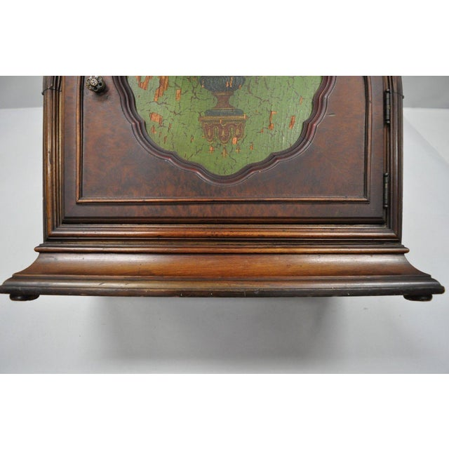 Antique Depression Walnut & Green Floral Paint Decorated Cabinet Jewelry Chest For Sale In Philadelphia - Image 6 of 12