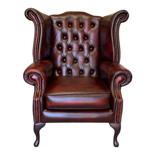 Vintage Mid-Century English Leather Chesterfield Wingback Chair, Oxblood For Sale