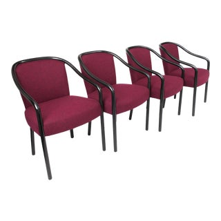 1960s Mid-Century Modern Ward Bennett Black Lacquered Bentwood Chairs - Set of 4 For Sale