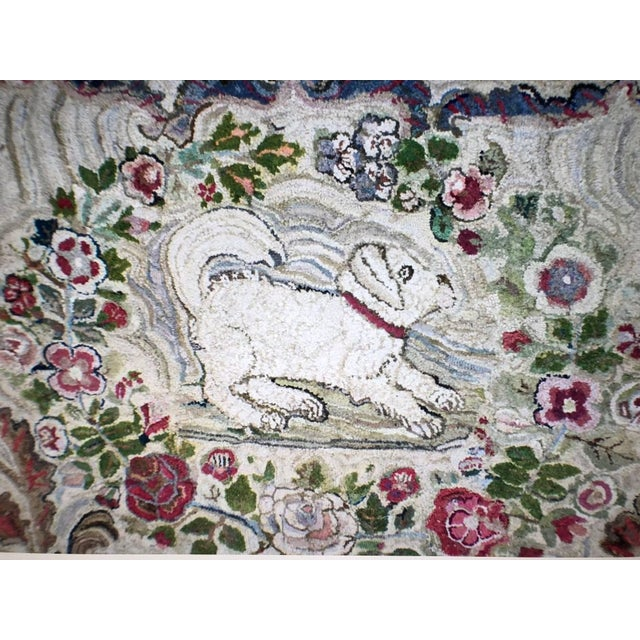 Late 19th Century Hooked Rug Room Size With King Charles Spaniels Playing Circa 1860 For Sale - Image 5 of 6