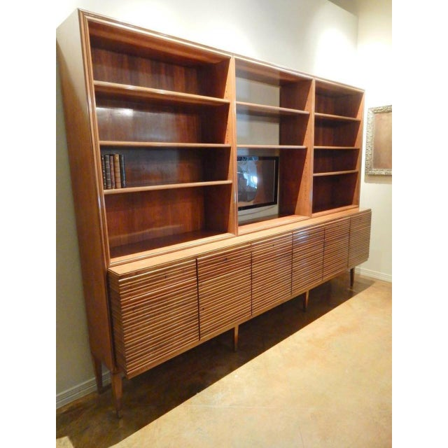 Italian Italian Mid-Century Modern Walnut Bookcase Cabinet For Sale - Image 3 of 11
