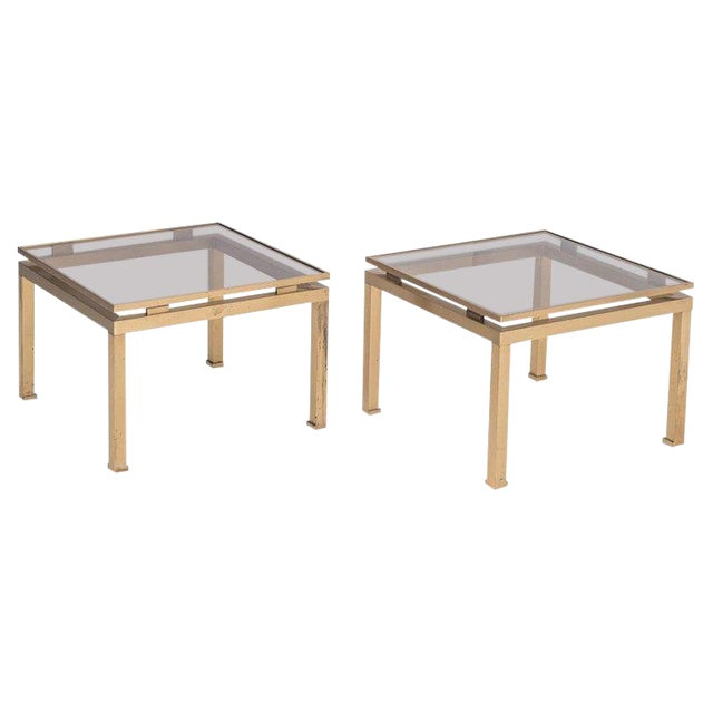 Guy Lefevre Side Tables in Brass and Smoked Glass for Maison Jansen For Sale