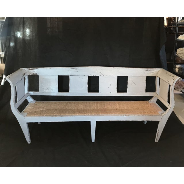 Gustavian Grey Painted Rustic Bench With Original Rush Seat For Sale - Image 13 of 13