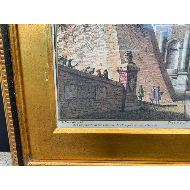 Wood Early 20th Century Antique Porta S. Spirito Framed Hand-Colored Engraving For Sale - Image 7 of 10