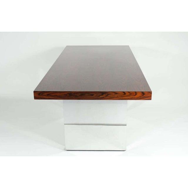 Rosewood Roger Sprunger for Dunbar Rosewood & Chrome Executive Desk For Sale - Image 7 of 10