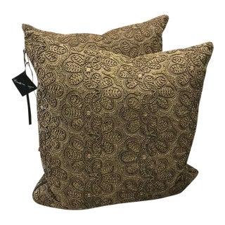 Global Views Gold Bead Throw Pillows - a Pair For Sale