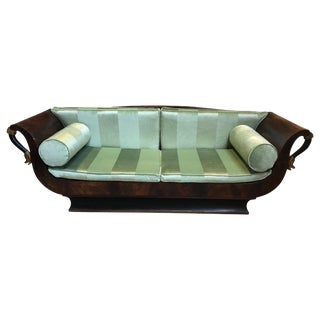 Sublime French Empire Walnut Curvy Sofa With Gilded Swans and Velvet Upholstery For Sale