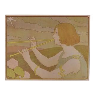 Vintage French Art Nouveau Lithograph