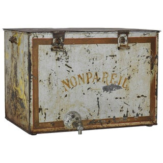 20th Century French Non Pareil Metal Ice Box For Sale
