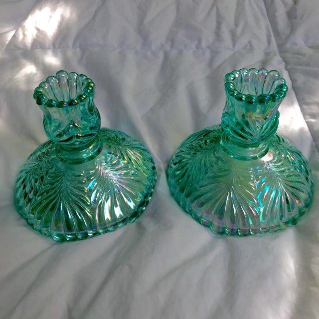 Art Glass Vintage Fenton Aqua Carnival Glass Matching Bowl and Candlesticks Signed - 3 Piece Set For Sale - Image 7 of 11
