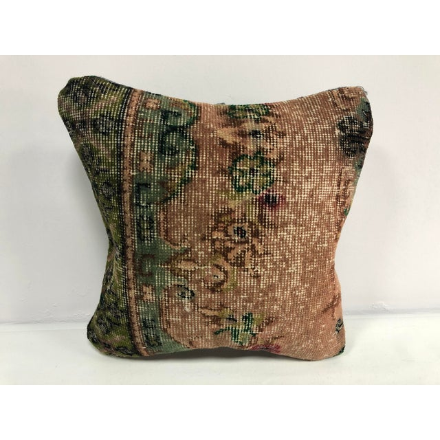 1970s Turkish Oushak Bronze and Green Handmade Decorative Pillow Cover For Sale In Phoenix - Image 6 of 6