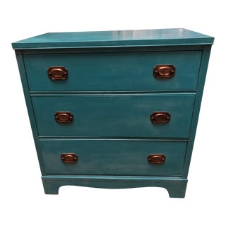 20th Century Queen Anne Mahogany Turquoise Chest