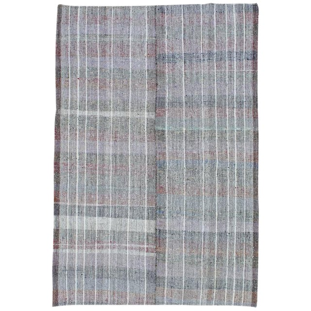 Cotton and Goat Hair Kilim with Subtle Color For Sale