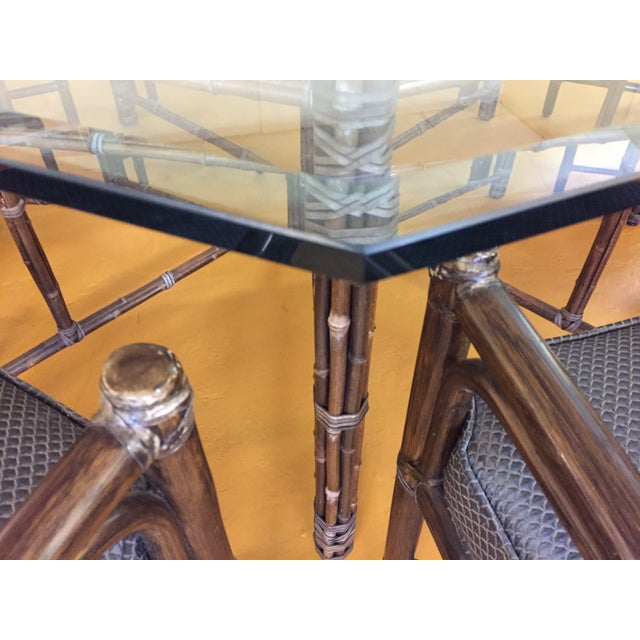 McGuire Octagonal Bamboo and Glass Dining Table and Matching McGuire Rattan Chairs -Set of 8 For Sale - Image 12 of 13