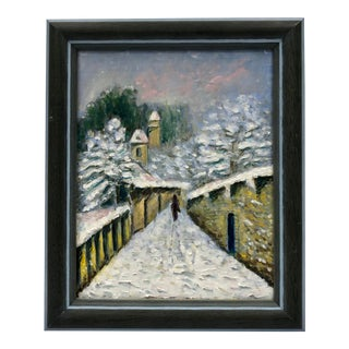 1960s Small Winter Scene Oil Painting by Genevieve Roberto, Framed For Sale