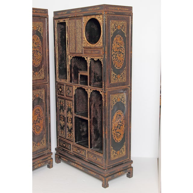 Pair of Black Lacquer Chinese Display Cabinets For Sale - Image 4 of 13