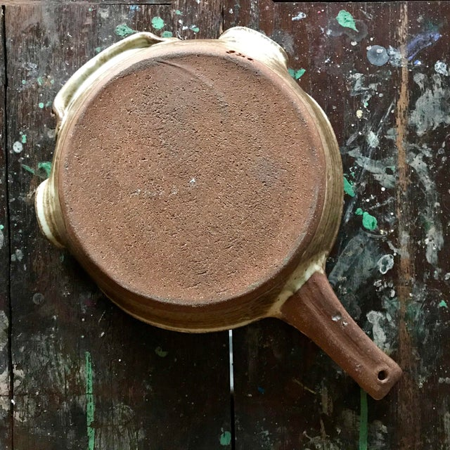 Country Vintage Pottery Handled Skillet For Sale - Image 3 of 6