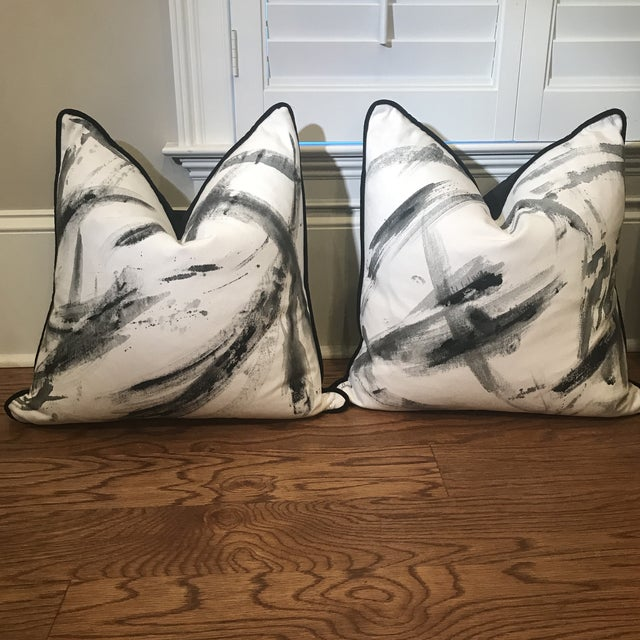 Abstract Hand-Painted Custom Artist Signed Pillows - a Pair For Sale - Image 13 of 13