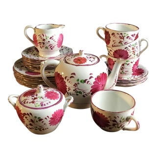 Antique Allertons China Pink Luster Floral Handprinted Tea/Luncheon Set- Set of 25 For Sale