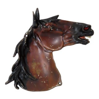 Antique Hand Painted Cast Iron Horse Head Tray For Sale