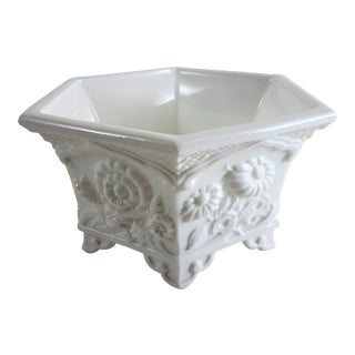 Vintage Chinoiserie Milk Glass Bowl Planter For Sale