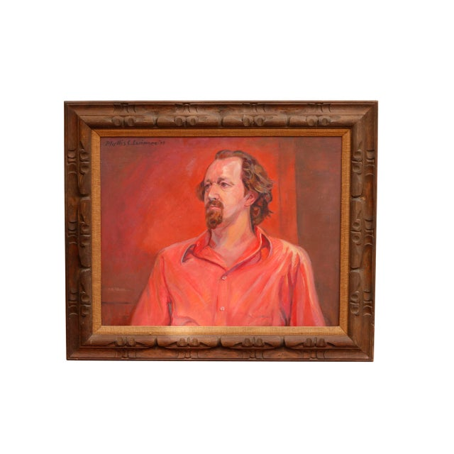 Red Framed 1972 Oil on Canvas Portrait of Tony Folger by Phyllis Coombs Larimore For Sale - Image 8 of 8