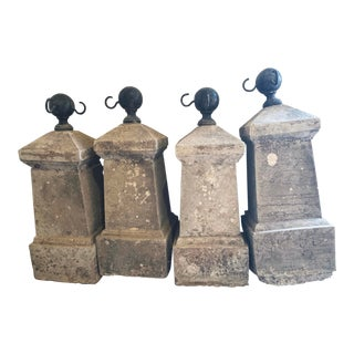 Antique French Chateau Garden Iron and Concrete Stanchions- Set of Four For Sale
