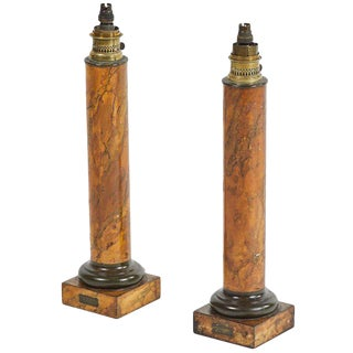 19th Century Victorian Tole Table Lamps - a Pair For Sale