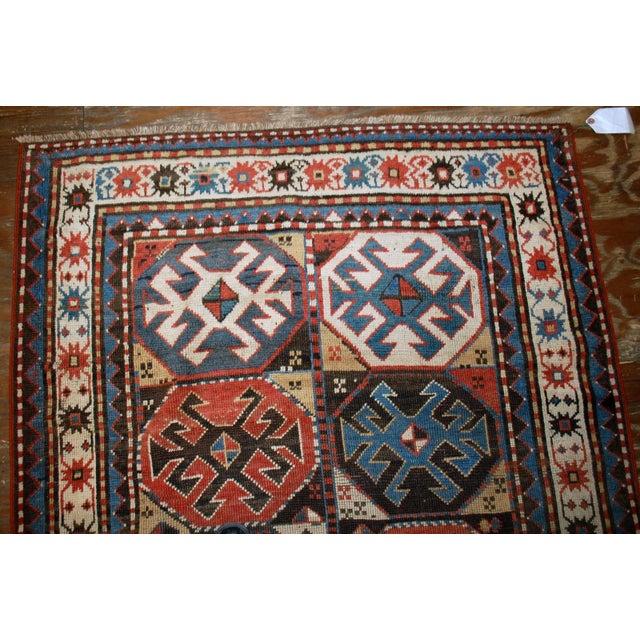 "Islamic Handmade Antique Caucasian Kazak Mohan Rug - 3'8"" X 8'2"" For Sale - Image 3 of 7"