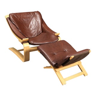 1970s Vintage Ake Fribytter for Nelo Kroken Lounge Chair and Stool For Sale