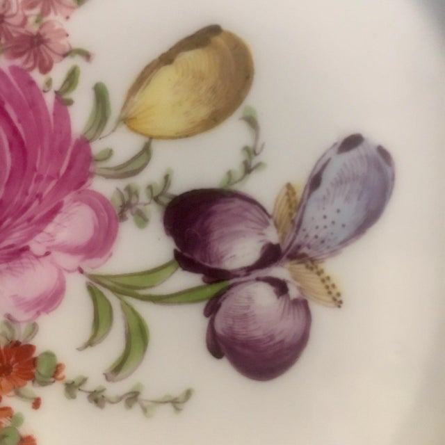 Raspberry Pink Helena Wolfsohn Dresden Handpainted Dessert Plates - Set of 3 For Sale - Image 8 of 13