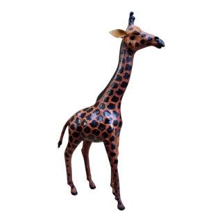 Tall Leather Giraffe Figurine For Sale