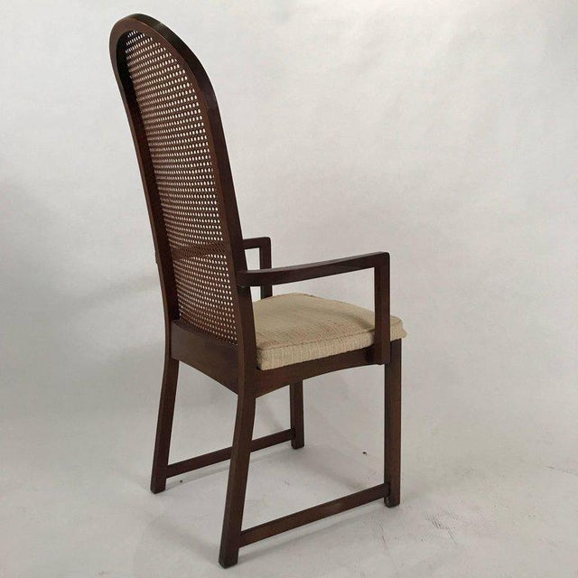 Set of Six Milo Baughman High Back Cane and Walnut Dining Chairs for Directional For Sale - Image 9 of 11