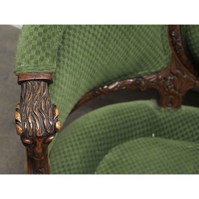 Wood Carved Wood Frame & Green Upholstery Victorian Sofa For Sale - Image 7 of 13
