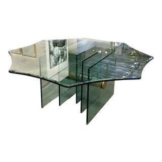 Hollywood Regency Scalloped Glass Top Dining Table With Gold Accent Base For Sale