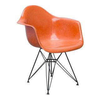 Eames Molded Fiberglass Armchair in Orange For Sale