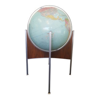 Pearsall Style Mid Century Light Up World Floor Globe