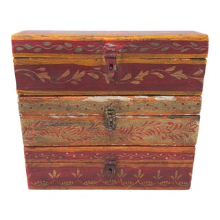 Antique Indian Painted Wooden Boxes - Set of 3 For Sale