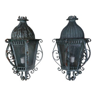French Louis XV Style Painted Wrought Iron Lantern Sconces, Pair For Sale